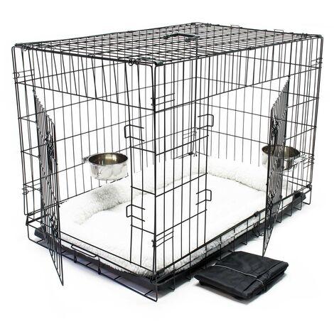 Cage Box de transport Pliable Set complet pour Chien et Chat Caisse mobile L 107x71x76cm Kit