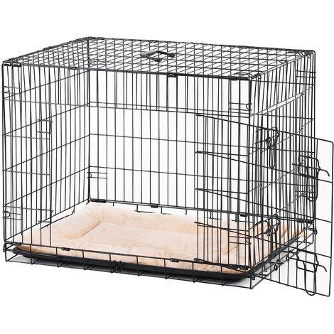 Cage caisse de transport pliante pour chien en métal noir 106 x 71 x 76 cm matelas fourni