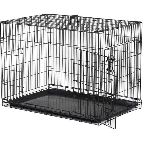 Cage caisse de transport pliante pour chien en métal noir 91 x 61 x 67 cm