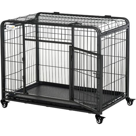 Cage chiens pliable sur roulettes 2 portes verrouillables métal gris noir