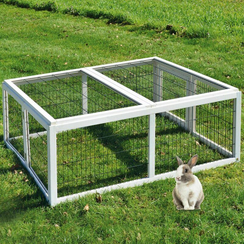 Cage Clapier á lapins Rabbit Run XL extérieur- Cage Mobile -Couleur Blanc 403
