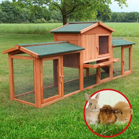 Cage Clapier Enclos lapin 210 x 54 x 85,5 cm (L x B x H)Exterieur en bois Haute Qualité pour lapins petits animaux Modele XXL 040