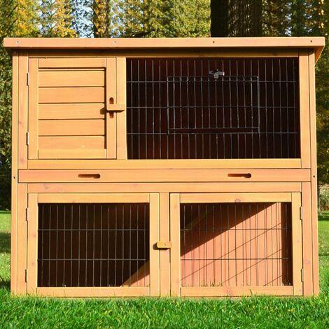 Cage Clapier Enclos lapin Exterieur en bois de pin Haute Qualite pour lapins petits animaux 116 x 63 x 97 cm Modele: 003 Happy