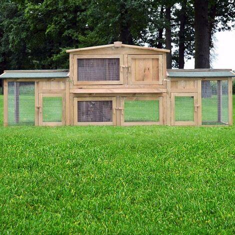 Cage Clapier Enclos lapin Extérieur en bois Haute Qualité Docteur Lièvre Largeur totale 2,48 m Modèle 011 Dr. Lapin