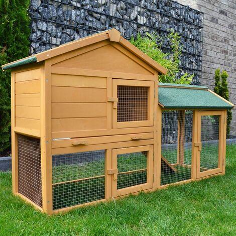 Cage Clapier Enclos lapin Ext'rieur en bois de pin Haute Qualit' 145x53x86 cm Mod'le: 001 Villa Lapin