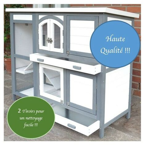 Cage Clapier Extérieur pour lapins 122x42,5x104 cm Modèle- Miette 081 Gris-blanc