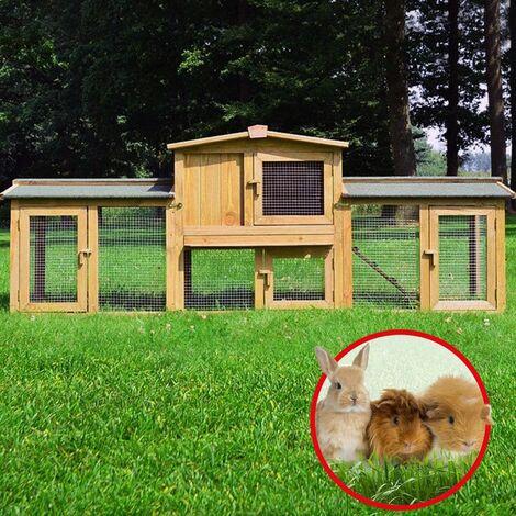 Cage Clapier lapin Extérieur en bois de Haute Qualité pour lapins 220 x 56 x 83 cm Modèle 012 Sheriff