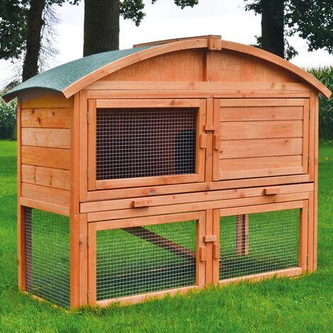 Cage Clapier lapin Extérieur en bois Haute Qualité pour lapins petits animaux 122 x 48.5 x 98 cm - Modèle : 033 Toit rond