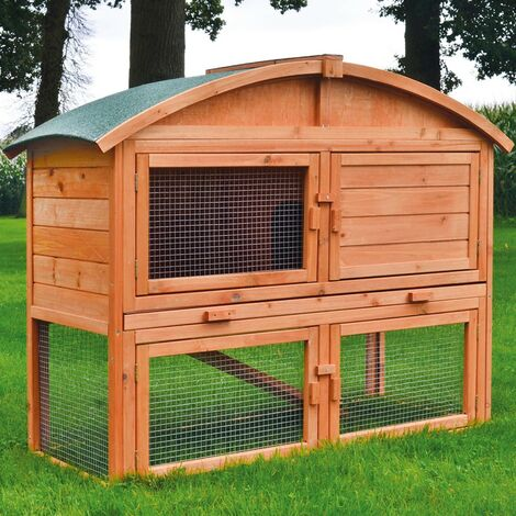 Cage Clapier lapin Ext'rieur en bois Haute Qualit' pour lapins petits animaux 122 x 48.5 x 98 cm - Modele : 033 Toit rond