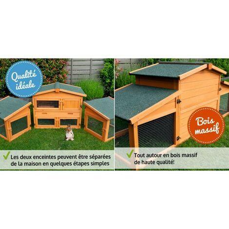 Cage Clapier pour lapin Extérieur en bois de pin Haute Qualité 185x51x75cm Modèle: 037 Étable de roi