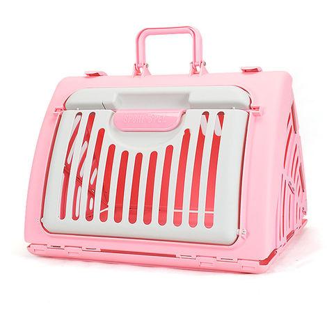 Cage de chat triangulaire, transportant des animaux domestiques, en plastique, pliable, rose et blanc