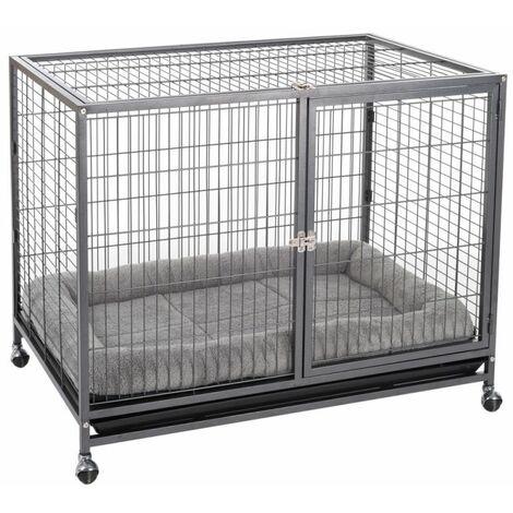 Cage de transport en métal avec coussin L 109,5 x B 70 x H 87,5 cm