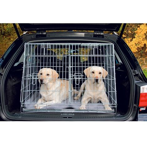 Cage de transport métal pliante - Double pour deux chiens Désignation : Cage de transport métal pliante - Double | Taille : 79 x 90 x 68 cm FOT 3930