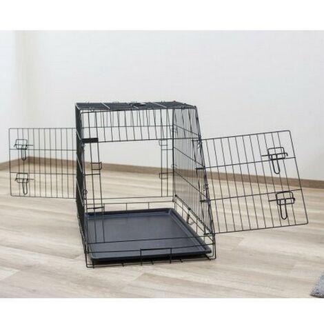 Cage de transport métal pliante pour chiens et chats avec pan incliné Désignation : Cage de transport métal pliante - Pan incliné MORIN IMPORT 3927
