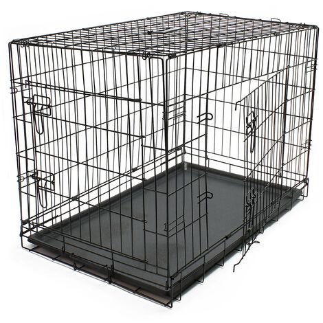 Cage de Transport pliable en Fil métallique Petits animaux Caisse de Transport métallique Taille XL