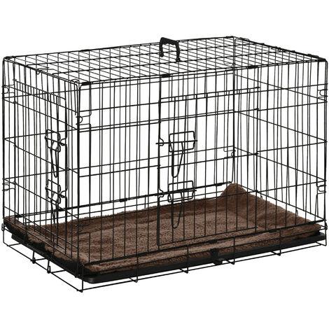 Cage de transport pliante pour chien poignée, plateau amovible, coussin fourni 76 x 53 x 57 cm noir