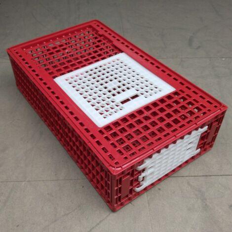 Cage de transport poules et volailles 96x57x27cm 2 portes rouge et blanche