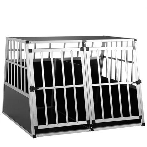 """main image of """"Cage de transport pour animaux domestiques noir argent caisse chien boîte grille"""""""