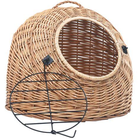 Cage de transport pour chats 45x35x35 cm Saule naturel