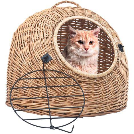 Cage de transport pour chats 50x42x40 cm Saule naturel