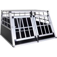 Cage de transport pour chien en aluminium xl noir 89 x69x50 cm
