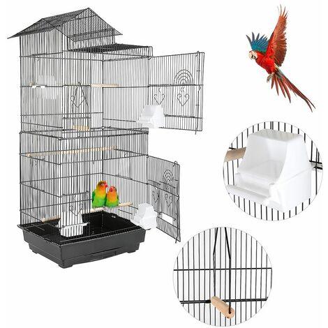 Cage d'oiseau de fil avec la conception de type de toit commode 46 * 35.5 * 99cm