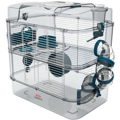 Cage Duo rody3. couleur Bleu. taille 41 x 27 x 40.5 cm H. pour rongeur