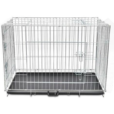 Cage en métal pliable pour chien acier galvanisé 109 x 70 x 78 cm - Métal