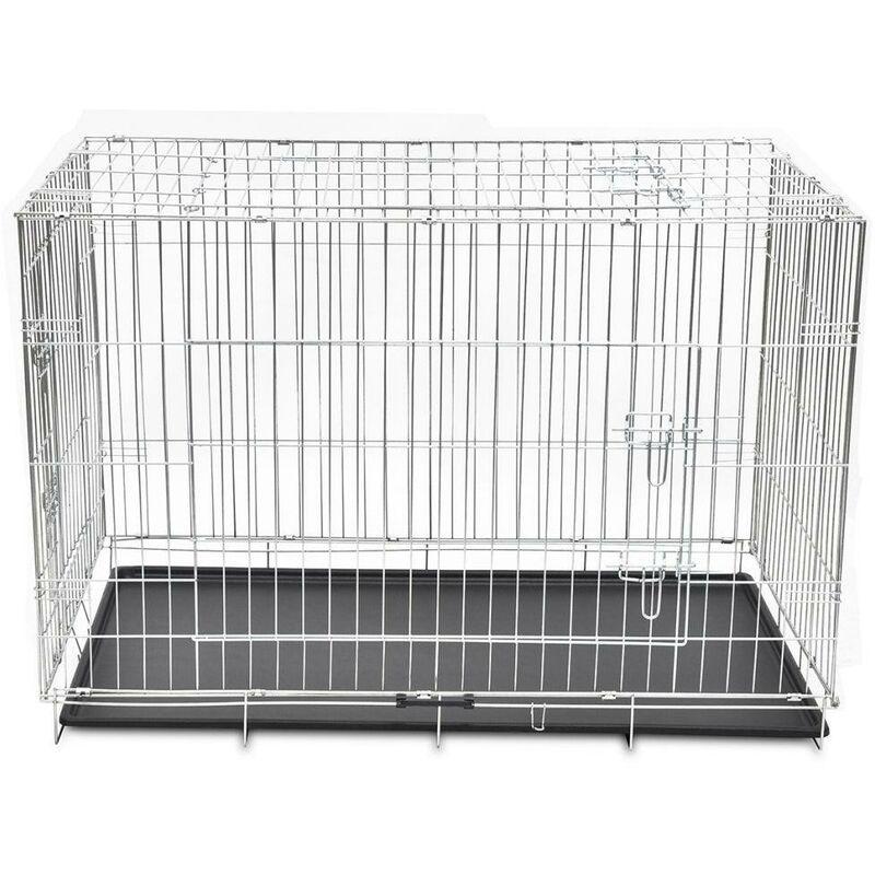 Cage en métal pliable pour chien acier galvanisé 121 x 74 x 83 cm - Métal
