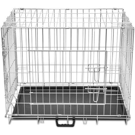 Cage en métal pliable pour chien acier galvanisé 95 x 56 x 64 cm - Métal