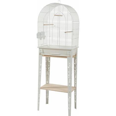 Cage et meuble CHIC PATIO. taille M. 44.5 x 28 x hauteur 133 cm. couleur blanc.