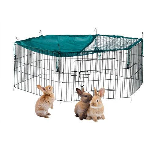 Cage extérieur lapin, avec filet, enclos pour rongeurs, avec protection contre le soleil, Ø 110 cm, vert