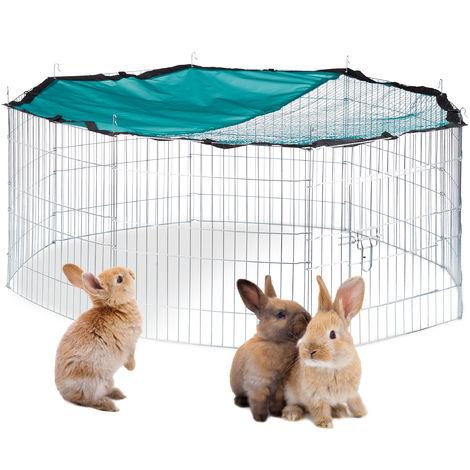 Cage extérieur lapin XL, avec filet, enclos pour rongeurs, avec protection contre le soleil, Ø 145 cm, zingué