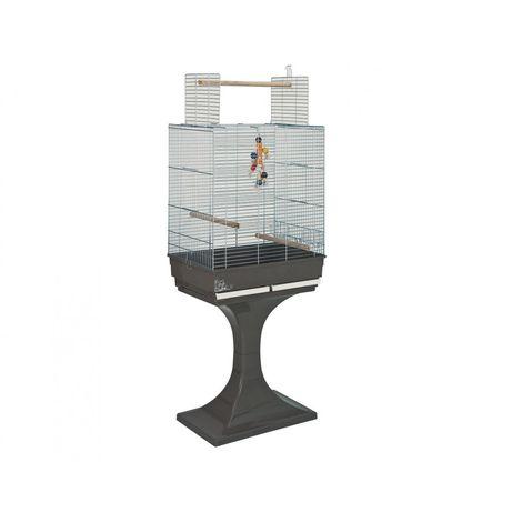 Cage gd oiseau Soraya+pied chrome/brun 66x45x81cm