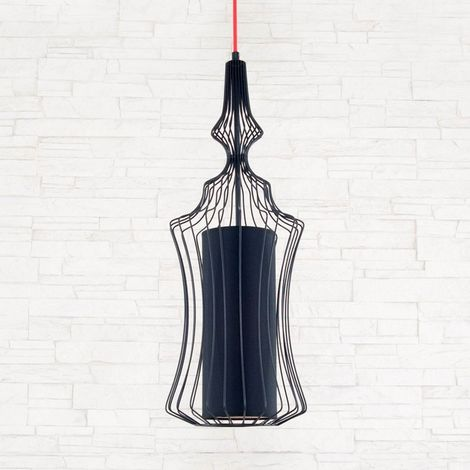 Cage Hanging Lamp - Ceiling light - for Wall - Black Made of Metal, PVC, 23 x 23 x 120 cm, 1 x E27, 40W