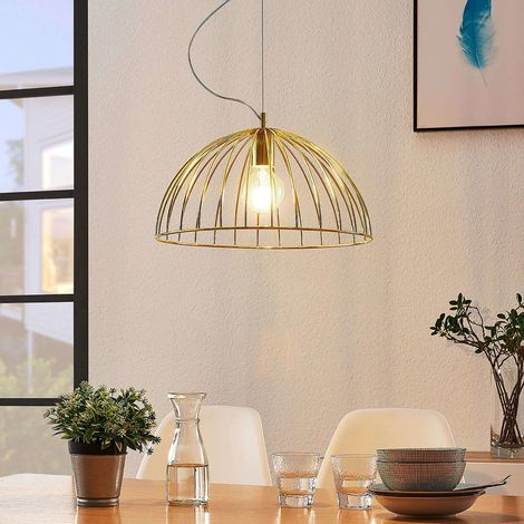 Cage hanging lamp Deria, brass-coloured, 1-bulb