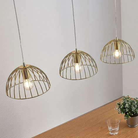Cage hanging lamp Deria, brass-coloured, 3-bulb