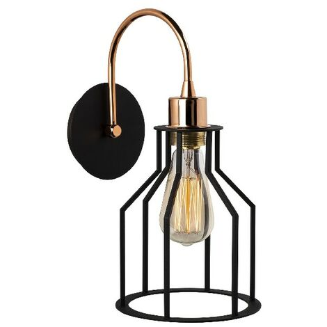 Cage II Wall Lamp - Applique - Black, Copper made of Metal, 17 x 25 x 36 cm, 1 x E27, Max 60W