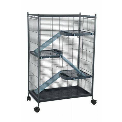 Cage indoor 2 maxi loft. couleur bleu. dimension intérieur 67.5 x 39 x 92.5 cm. pour les petits mammifères