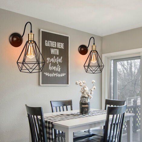 Cage Industrial Chandelier Retro Wall Lamp Black Diamond Pendant Light E27 Bulb for Living Room Kitchen Hallway Bedroom Cafe Bar