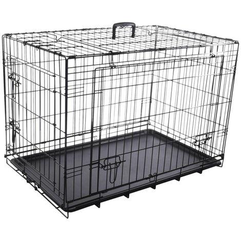 Cage NYO noir L. 59 x 93 x 62.5 cm. en métal avec porte coulissante. pour chien