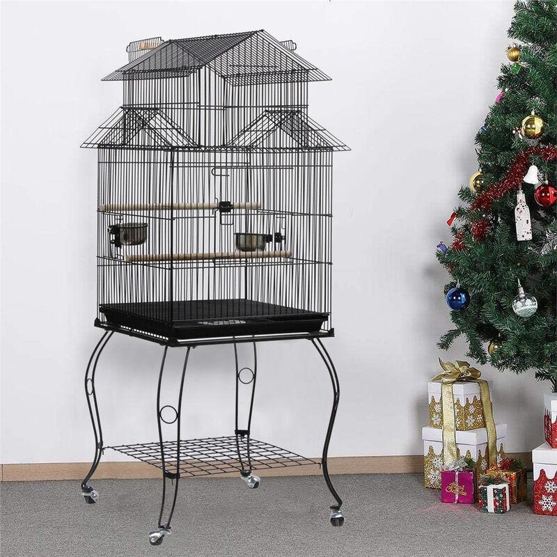 Oobest - Cage Oiseaux sur Roulettes Perruche Perroquet Canari Calopsitte Conure Pinson Inséparable Exterieur 59 x 59 x 139,5 cm
