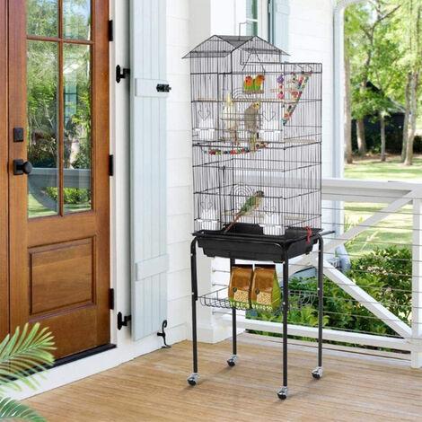 Cage Oiseaux sur Roulettes Volière avec Echelles pour Perruche Calopsittes Inséparables Mandarins Canaris 46 x 35,5 x 158,5 cm