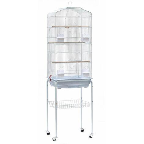 Cage Oiseaux Volière avec 4 roulettes 46*35.3*150.6cm - blanc - Blanc