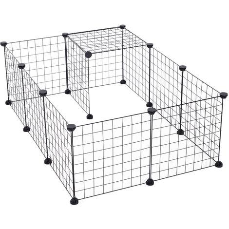 Cage parc enclos pour animaux domestiques L 106 x l 73 x H 36 cm bords arrondis fil métallique noir 55