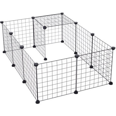 """main image of """"Cage parc enclos pour animaux domestiques L 106 x l 73 x H 36 cm bords arrondis fil métallique noir 55 - noir"""""""