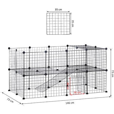 Cage parc enclos pour animaux domestiques L 146 x l 73 x H 73 cm modulable 2 niveaux 36 panneaux bords arrondis fil métallique noir