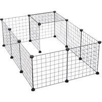 Cage parc pour animaux domestiques L 106 x l 73 x H 36 cm bords arrondis fil métallique noir 55