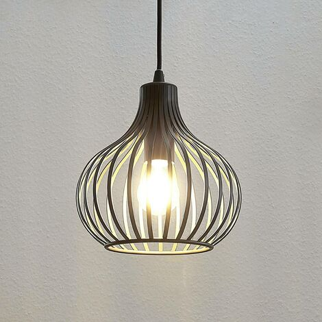 Cage pendant light Frances, brown, 1-bulb Ø 23 cm