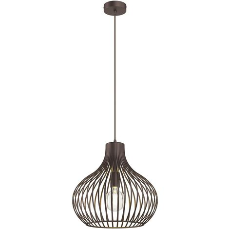Cage pendant light Frances, brown, 1-bulb Ø 38 cm